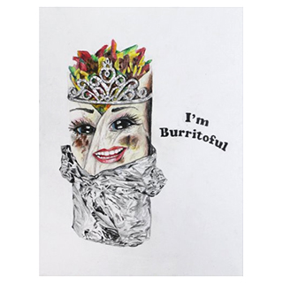 Burrito Queen framed drawing
