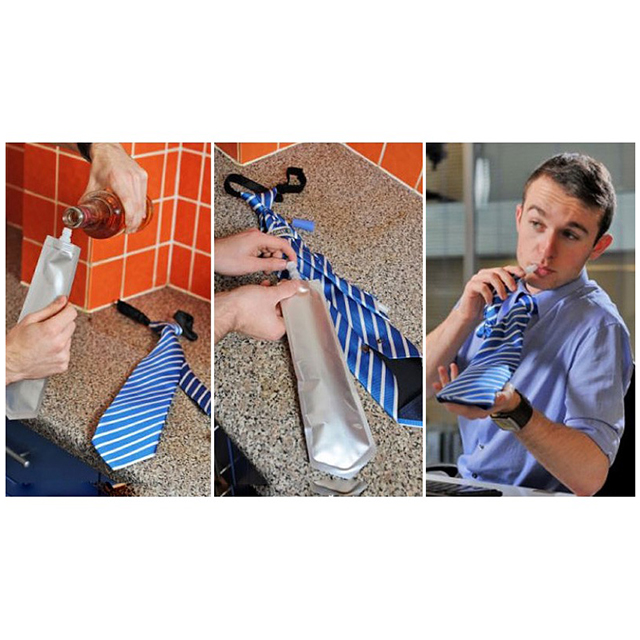 Clip-On Tie with Hidden Flask