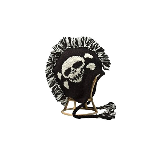 Mohawk Beanie with Skull and Crossbones