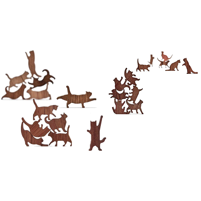 Stackable Wooden Cat Silhouettes