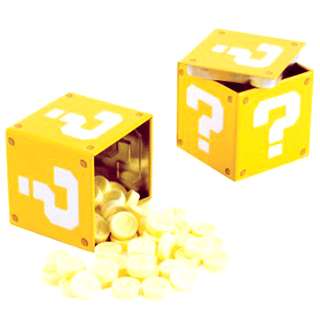 Super Mario Question Mark Tin Box with Candy