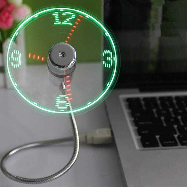 USB-Powered LED Clock Fan