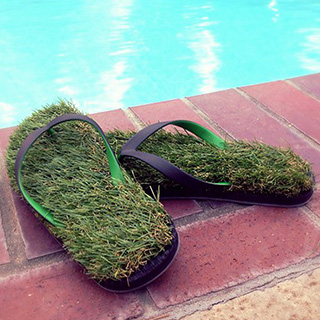 Synthetic Grass Flip Flops