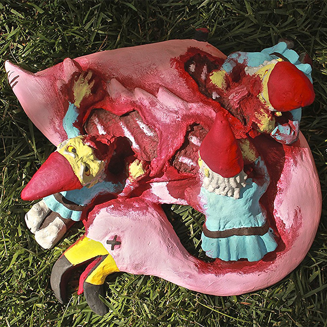 Pink Flamingo Zombie Gnome Feast