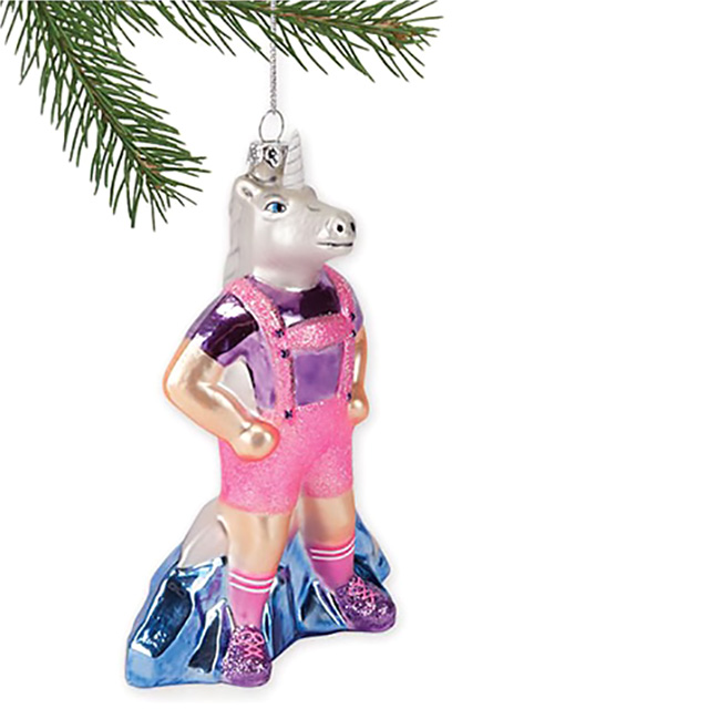 Unicorn in Lederhosen Tree Ornament