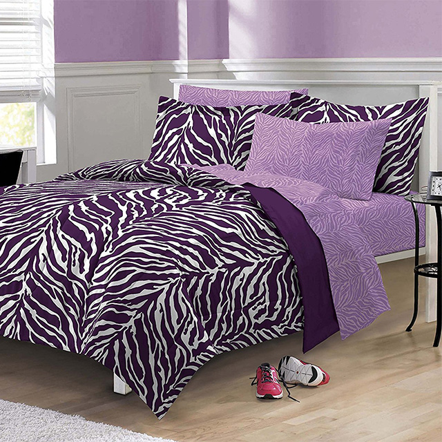 Purple Zebra Bedding Set