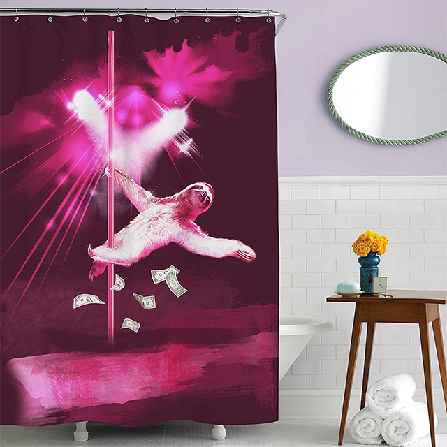 Sloth stripper shower curtain drunkmall for Sloth kong shower curtain