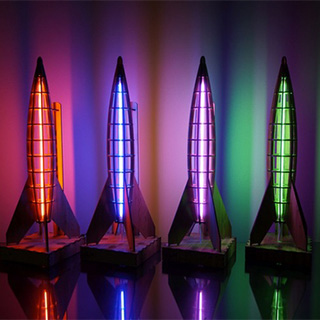 Wooden Rocket Lamps
