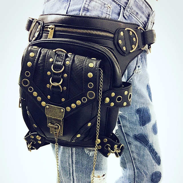 Leather Hip Bag with Leg Strap
