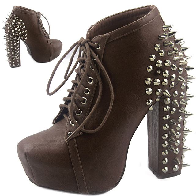 Spiked High Heel Booties