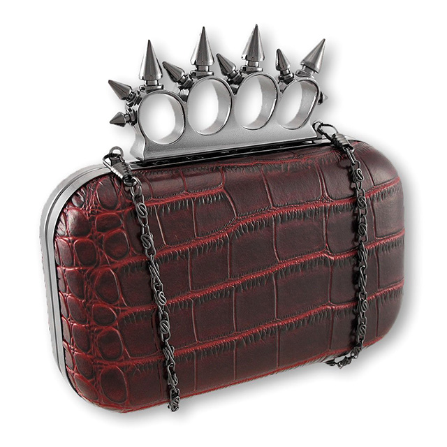 Spiked Knuckles Croc Clutch