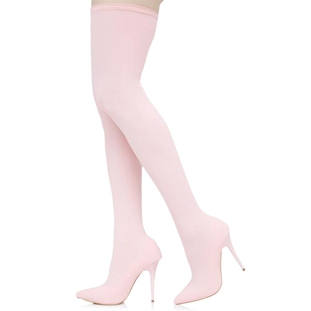 Stretchy Thigh High Heeled Boots
