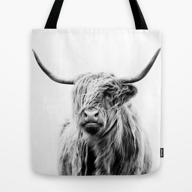 Cow with Emo Kid Hair Tote Bag