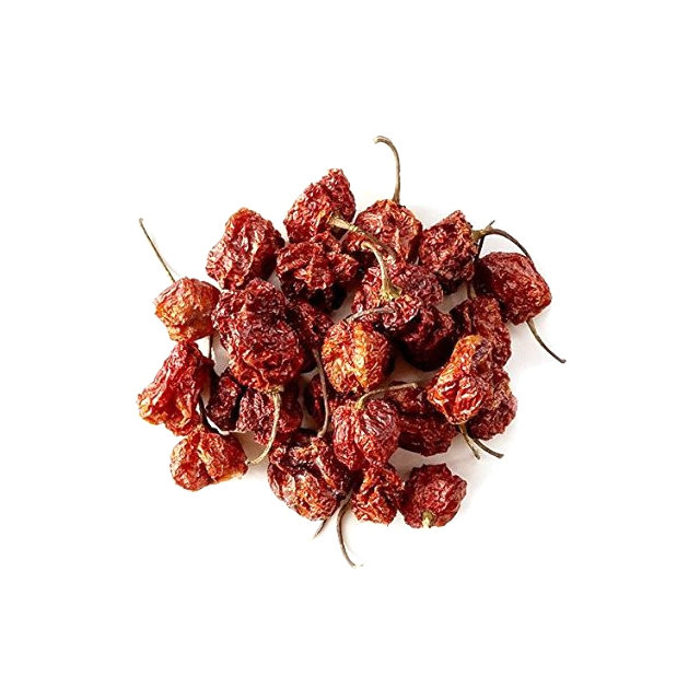 Dried Carolina Reaper hot peppers