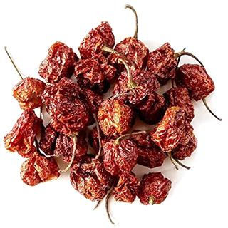 Dried Carolina Reaper hot peppers
