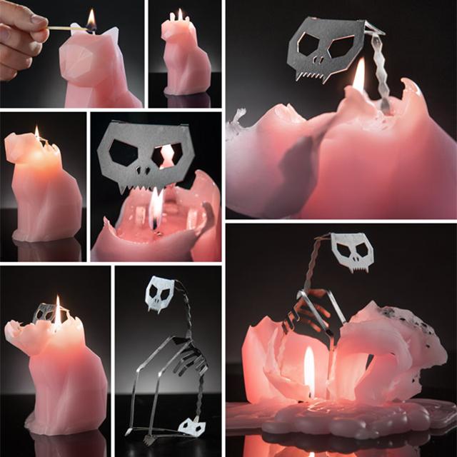 Gummi Cat Candle with Aluminum Skeleton