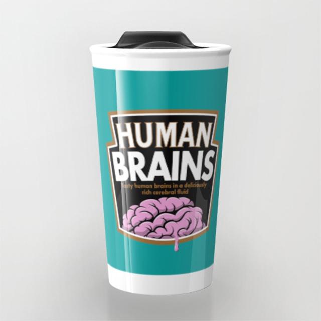 Human Brains travel mug