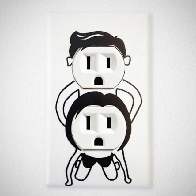Humping People Wall Outlet Decals