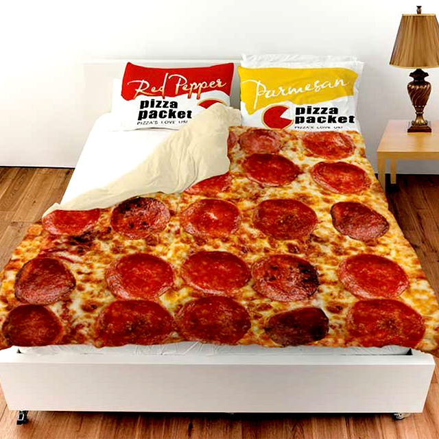 Pepperoni Pizza Bedspread