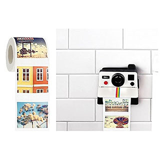 Polaroid Toilet Paper Roll and Camera-Shaped Holder