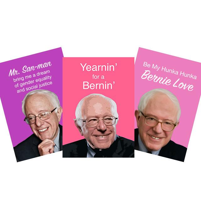 Bleeding Heart Bernie Sanders valentines cards