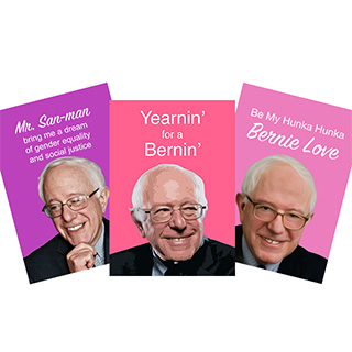Bleeding Heart Bernie Sanders valentines cards