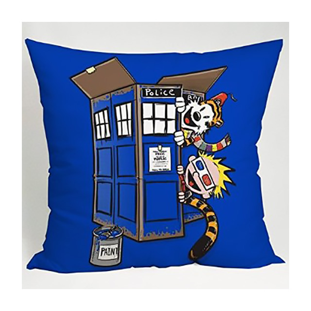Calvin and Hobbes TARDIS pillow
