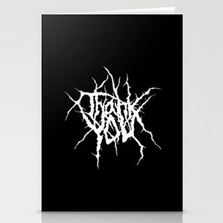 Black Metal Thank You Cards
