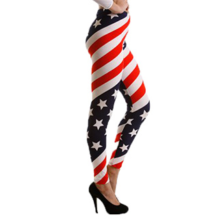 American Flag Striped Leggings