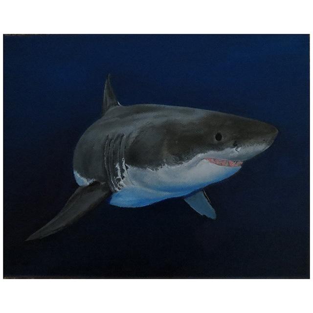 Great White Shark Oil Painting