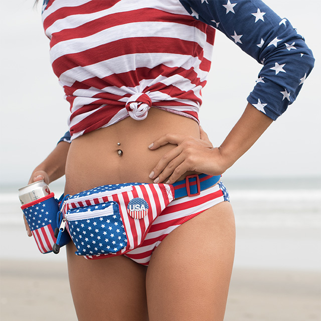 Old Glory Fanny Pack with Cup Holder
