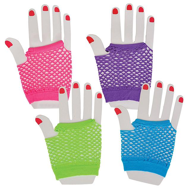 Neon Fingerless Fishnet Gloves