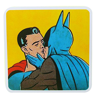 Batman Kissing Superman Sticker