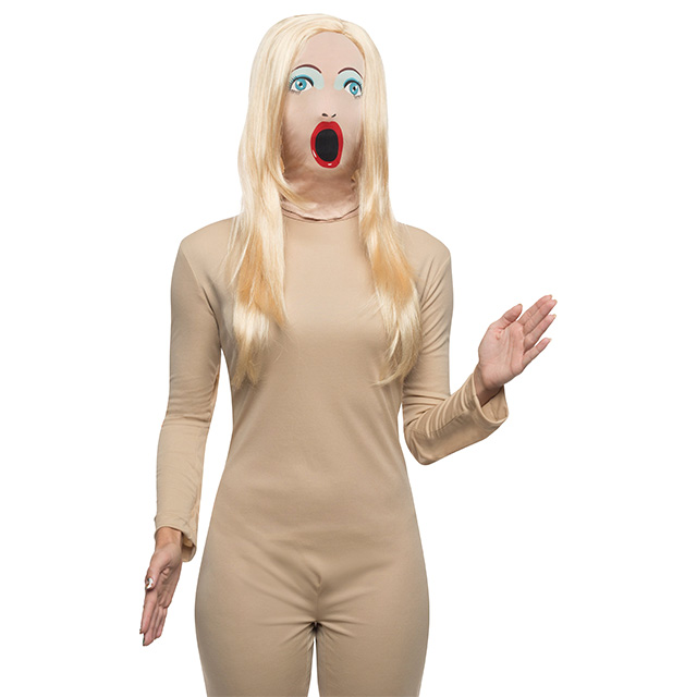 Blow-Up Doll Mask with Wig