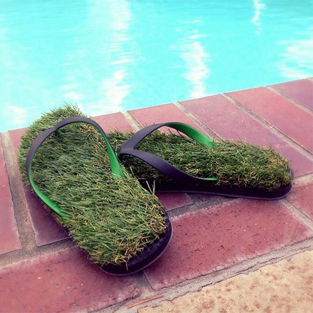 Synthetic Grass Flip Flops