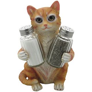 Tabby Cat Salt and Pepper Holder