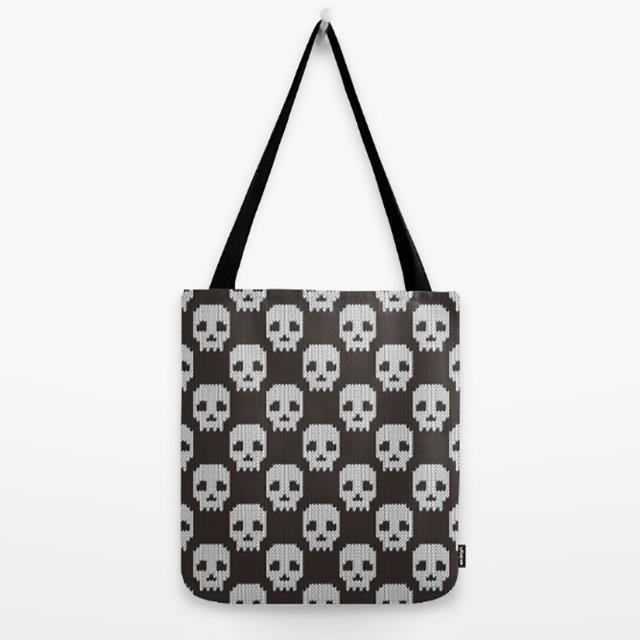 Knitted Skull Pattern Bag