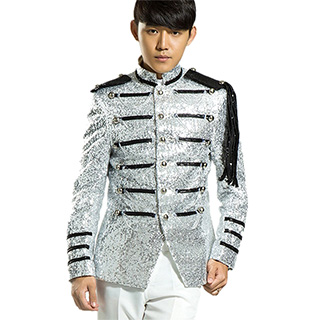 Shiny Silver Marching Suit