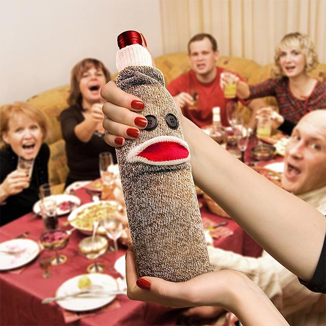 Sock Monkey Wine Holder