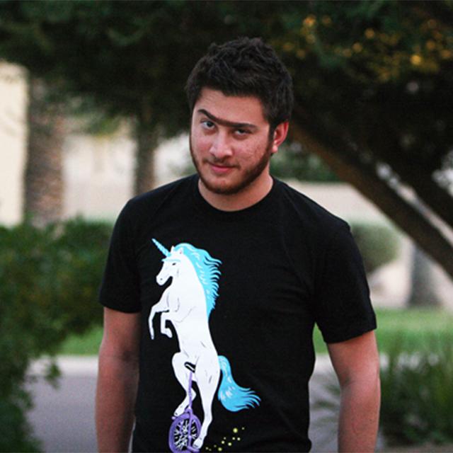 Unibrowed Unicorn on Unicycle Shirt